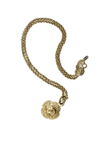 Кулон на цепи от Chanel в стиле 90-х  |  Chanel CC Logo Gold Tone Metal Necklace