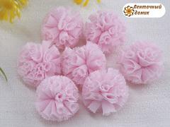 Помпоны из фатина розовые 20 мм