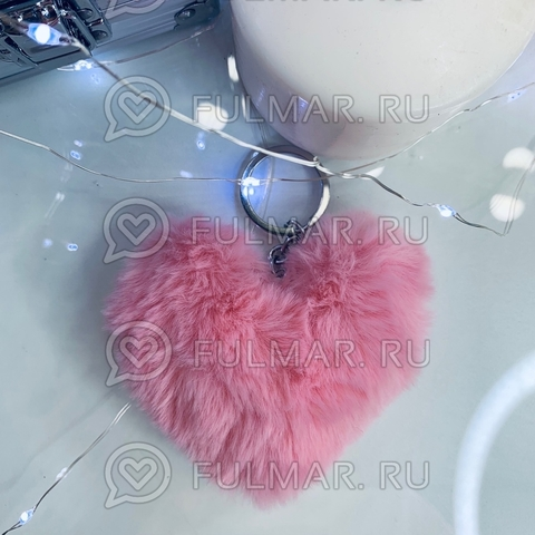 Брелок Пушистое сердце Розовое (10х8х2с м)