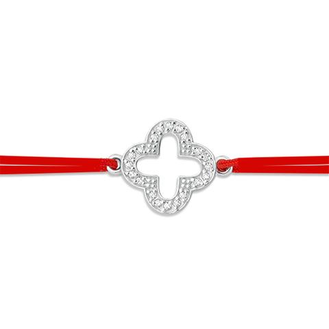 Браслет-красная нить с подвеской клевер из серебра с фианитами