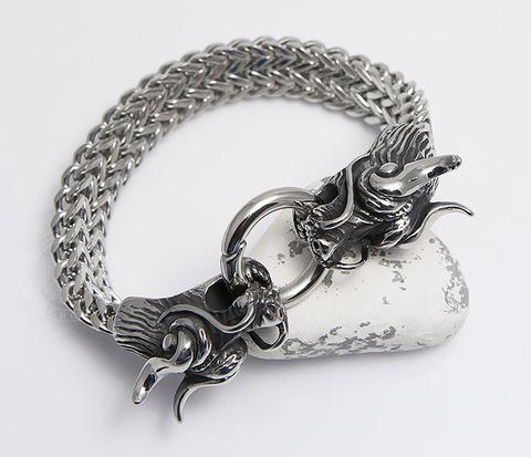 Тяжелый стальной браслет с драконами (21 см)