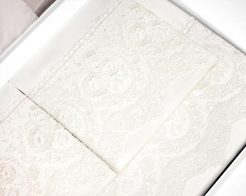 Постельное белье ELEGANT крем с кружевом TIVOLYO HOME Турция