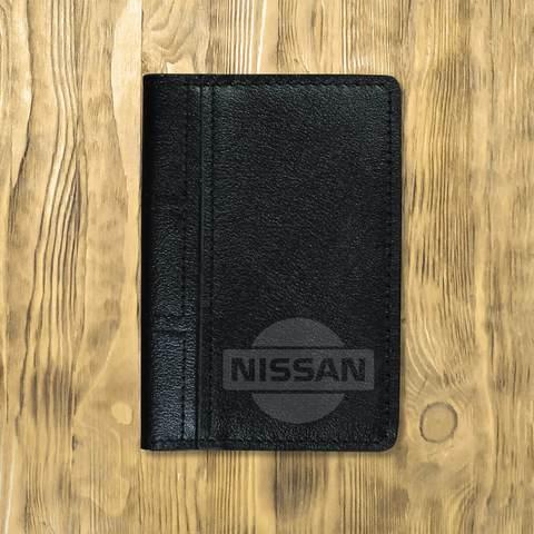 """Обложка на автодокументы сложная """"Nissan логотип"""", черная"""