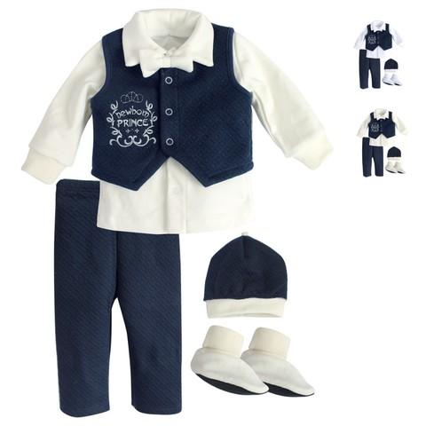 Комплект святковий для хлопчика Newborn Prince молочный с синим