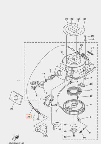 Оплетка троса для лодочного мотора F20 Sea-PRO (10-25)