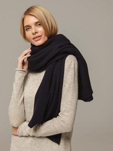 Женский шарф темно-синего цвета из 100% кашемира - фото 2