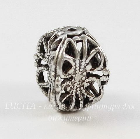 """Винтажный элемент - бусина """"Фонарик"""" филигрань 13х10 мм (оксид серебра)"""