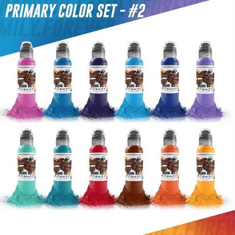 Краска World Famous Tattoo Ink Color Primary Set #2 - 12шт