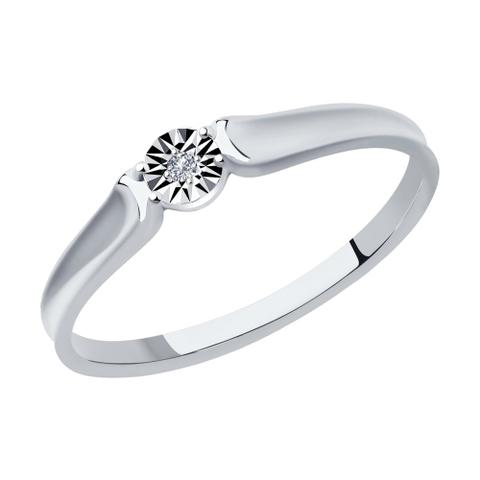 1012002 - Кольцо из белого золота с бриллиантом