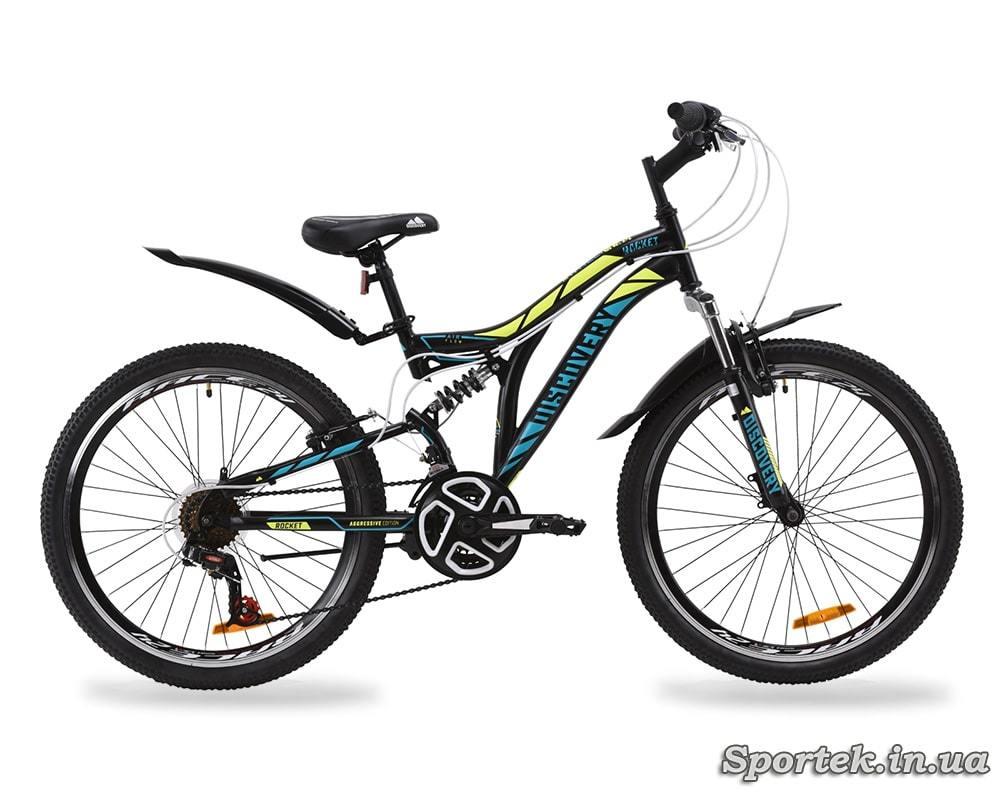 Гірський універсальний підлітковий велосипед Discovery Rocket - чорно-жовтий з бірбзовим