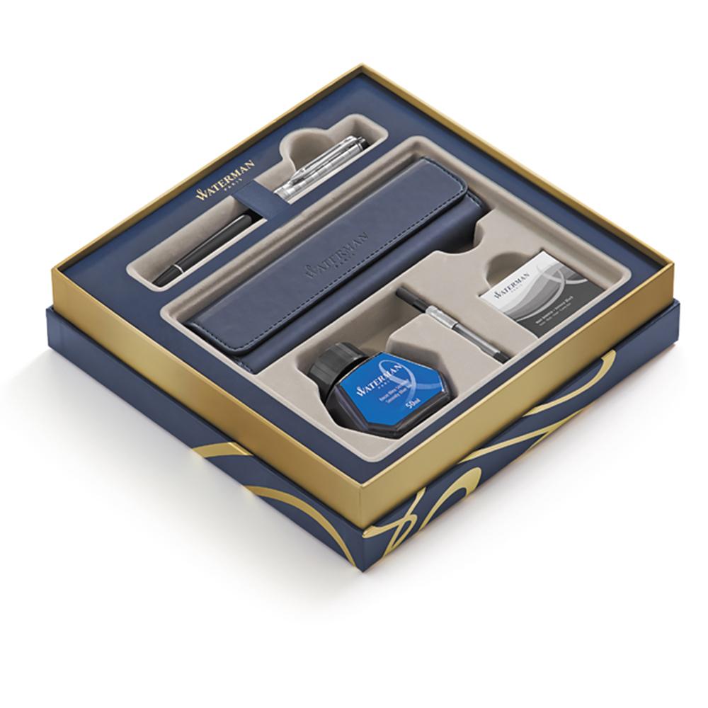Набор подарочный Waterman Expert - Deluxe Black CT, перьевая ручка, F + чехол 1978716