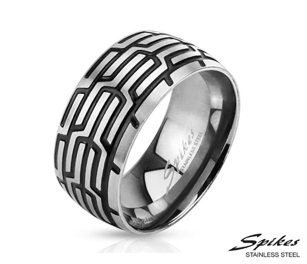 R-M3163-10 Широкое мужское кольцо «Шина» из стали («Spikes»)