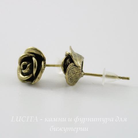 """Пуссеты - гвоздики """"Розы"""" 10х9 мм (цвет - античная бронза)(с заглушками)"""