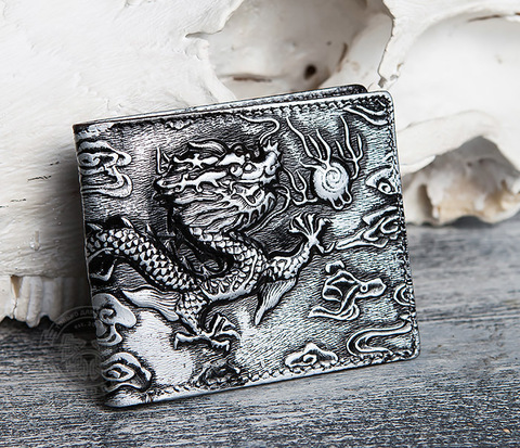 Необычный мужской кошелек из натуральной кожи с драконом