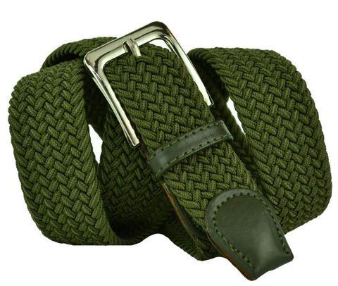 Ремень текстильный резинка мужской брючный зелёный хаки большого размера 35 мм 35Rezinka-B-002