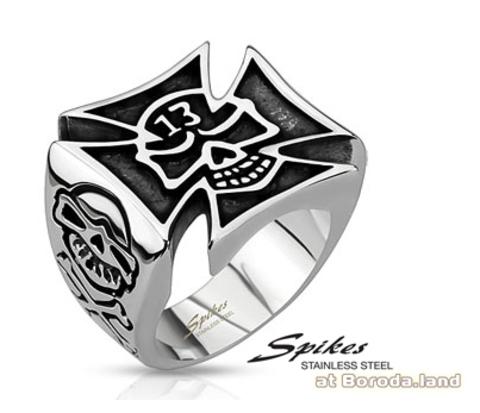 Мужской стальной перстень - крест из стали, «Spikes»