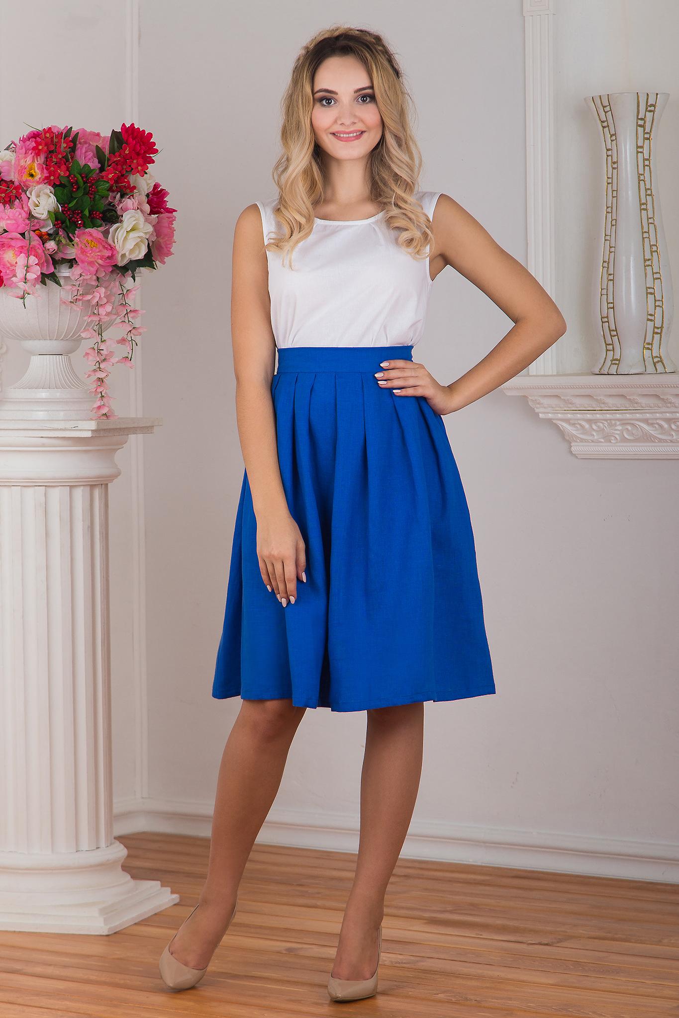 Юбка льняная Синева с белой блузкой
