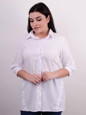 Дакота. Оригинальная женская рубашка больших размеров. Белый.
