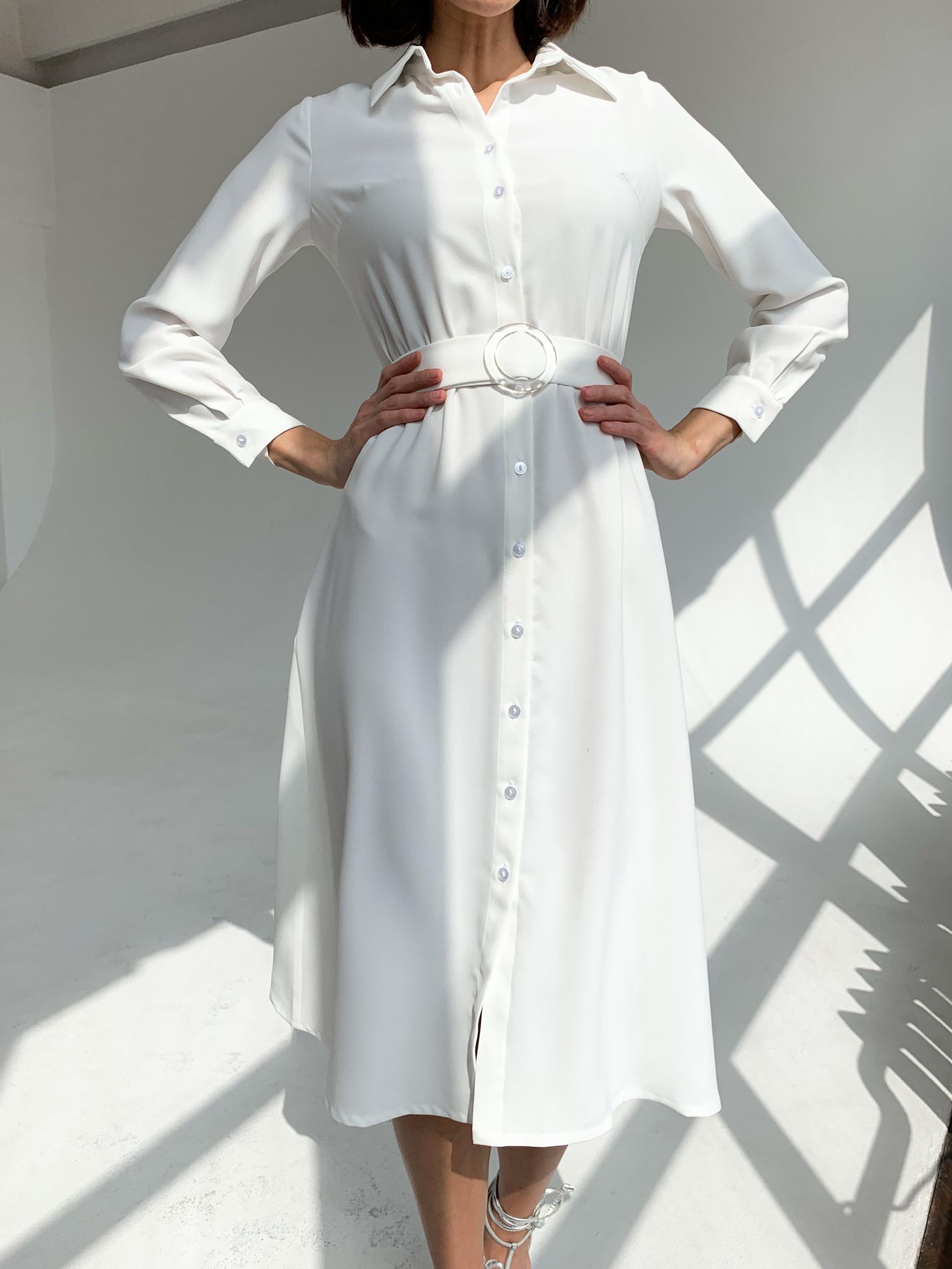 Платье-рубашка миди А-силуэт с поясом (айвори)