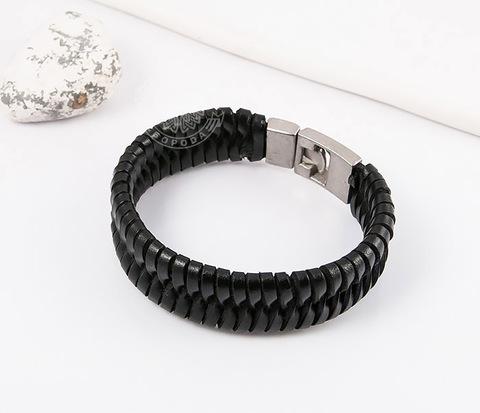 SL0039-K Широкий мужской браслет из черной натуральной кожи,