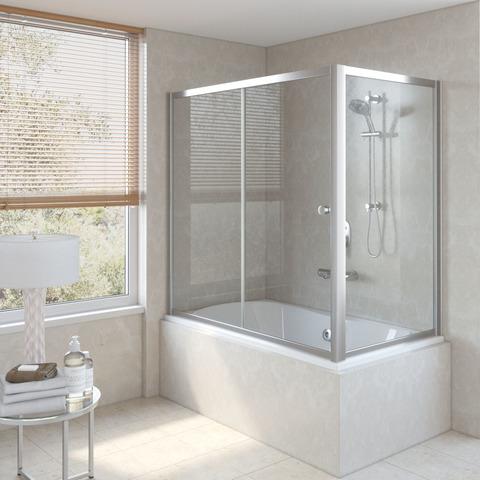 Шторка на ванну Vegas Glass ZV+ZVF профиль глянцевый хром, стекло прозрачное