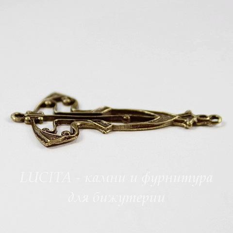 Винтажный декоративный элемент - коннектор Art Deco (1-1) 33х18 мм (оксид латуни)