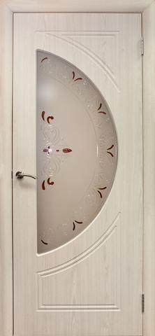 Дверь Дубрава Сибирь Сфера, цвет беленый дуб, остекленная