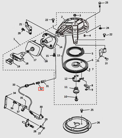 Пружина троса блокировки стартера для лодочного мотора T9.8 Sea-PRO (7-32)