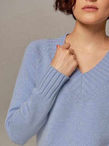 Женский джемпер голубого цвета из шерсти и кашемира - фото 2