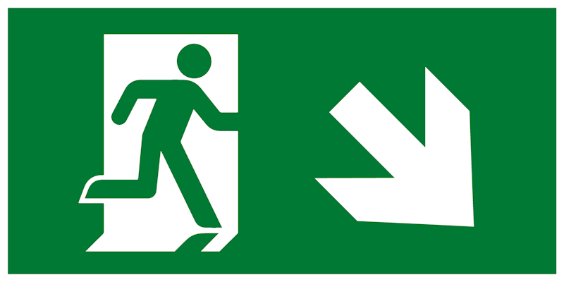 Современный комбинированный эвакуационный знак Е36 – Направление к эвакуационному выходу направо вниз