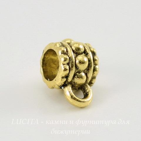 Бейл с узором (цвет - античное золото) 10х6 мм