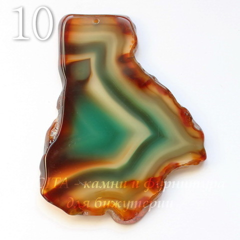 Подвеска Срез Агата (тониров), цвет - коньячно-зеленый, 51-77 мм (№10 (77х59 мм))