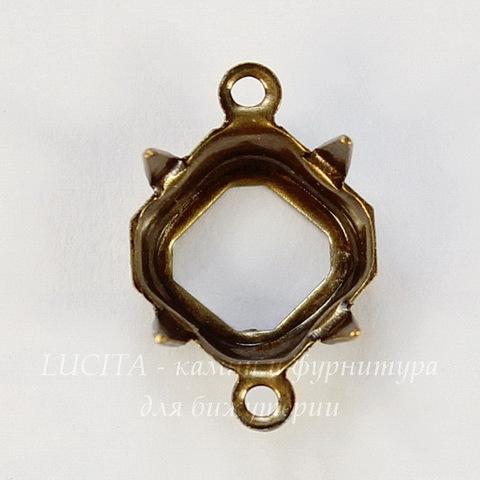 Сеттинг - основа - коннектор (1-1) для страза 8х8 мм (оксид латуни)