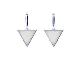 Серебряные серьги с белым мрамором треугольной формы