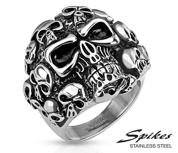 R-H6044 Мужское стальное кольцо «Черепа» («Spikes»)