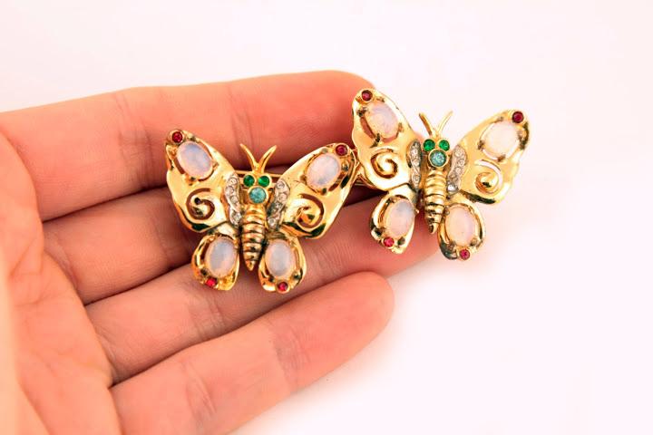 """Редкая серебряная брошь """"Бабочки"""" из серии Дуэты от Coro, 1947 год"""