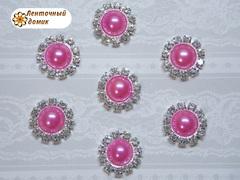 Полужемчуг в стразовом обрамлении ярко-розовый (10шт)