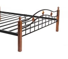 Кровать АТ-126 200x160 (Queen) Черный/Красный дуб