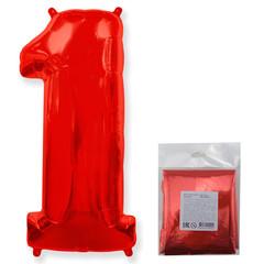 F Цифра 1, красный, 40''/102 см, 1 шт. в упаковке