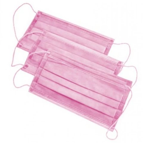 Маска 3-слойная 50 шт розовая