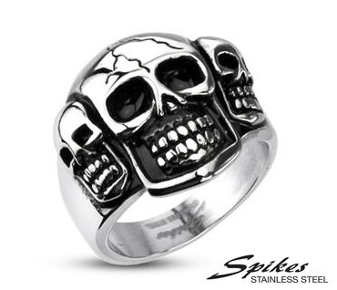 R-H3668 Мужской перстень с черепами «Веселые Ребята» из ювелирной стали («Spikes»)