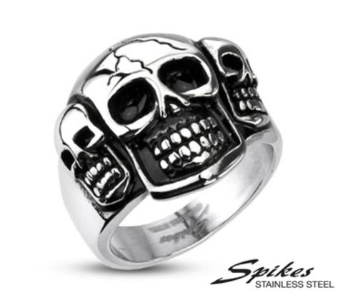 Мужской перстень с черепами «Веселые Ребята» из ювелирной стали («Spikes»)
