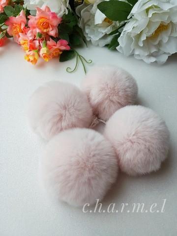 Помпоны, кролик 5-6 см, цвет Пудра, 2 шт