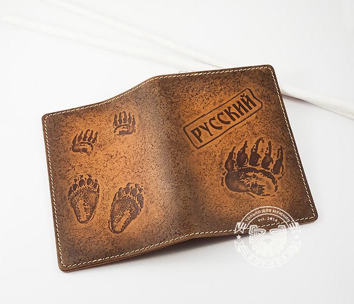 BY14-32-01 Обложка на паспорт «РУССКИЙ» из натуральной кожи, тиснение фото 03