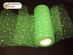 Фатин с  глиттером зеленый ширина 15 см