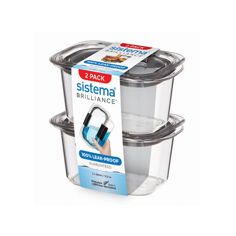 Набор герметичных контейнеров из тритана Brilliance, (2 шт.), 380 мл, артикул 55102, производитель - Sistema