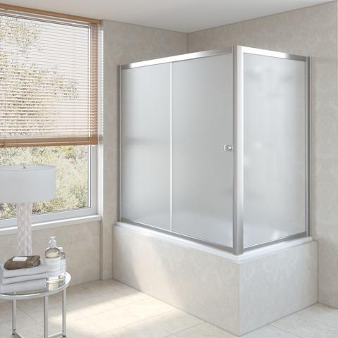 Шторка на ванну Vegas Glass ZV+ZVF профиль глянцевый хром, стекло сатин