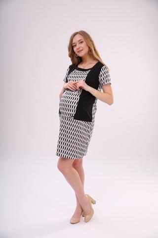 Платье-туника для беременных 06397 черно-белый