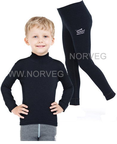 Комплект термобелья из шерсти мериноса Norveg Soft Black детский