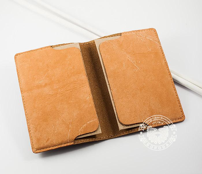 BY14-32-01 Обложка на паспорт «РУССКИЙ» из натуральной кожи, тиснение фото 05